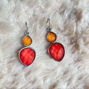 3/$20 Coral & Gold Double Teardrop Earrings